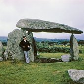 Robert Smithson at Pentre Ifan dolmen, Wales 1969