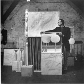 Robert Rauschenberg Cy Twombly with Artworks at Fulton Street 1954