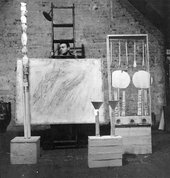 Robert Rauschenberg Cy Twombly with Artworks at Fulton Street 1954 02