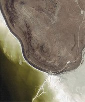 Robert Smithson Ikonos satellite image of Spiral Jetty 14 September 2002