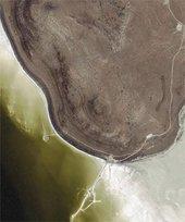 Robert Smithson Ikonos satellite image of Spiral Jetty 14 September 2002