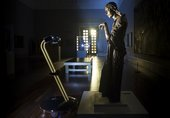 After Dark: roaming robot taking in Sir Jacob Epstein's The Visitation, 1926