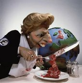 Roger Law Thatcha Ten Years of the Dragon 1989 caricature of Margaret Thatcher carving a peice of meat shaped like the united kingdom from a globe