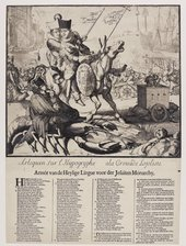 Romeyn after De Hooghe Arlequin sur l Hypographe a la Criosade Lojoliste1689