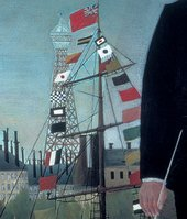 Henri Rousseau - Eiffel Tower detail from Myself, Portrait-Landscape 1890