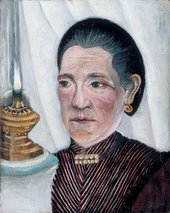 Henri Rousseau - Portrait of the Artist's Second Wife with a lamp 1900-3