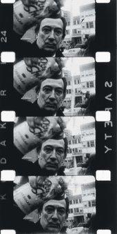 Film stills of Salvador Dalí spraying foam in a happening filmed by Peter Beard 1964