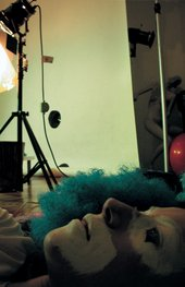 Cindy Sherman Sherman as clown on studio floor