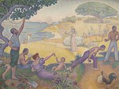 Paul Signac In the Time of Harmony: The Golden Age is Not in the Past, it is in the Future 1894–5 oil painting showing people at leisure in a park on a sunny day
