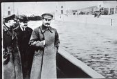 Undated photograph of Voroshilov, Molotov and Stalin, with Nikolai Yezhov, commissar of water transport, deleted. He was shot in 1940