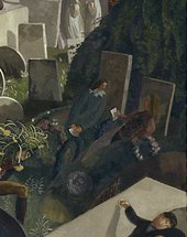 Stanley Spencer The Resurrection Cookham 1924 to 1927 detail of where two figures sit up in their graves clutching papers