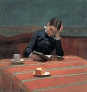 William Stott of Oldham CMS Reading by Gaslight 1884 Pastel on paper of girl reading at table