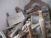 Tools on a workbench in the stone-carving studio, Barbara Hepworth Museum and Sculpture Garden, St Ives, 2010