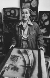 Louise Nevelson in her studio in New York City, 1974