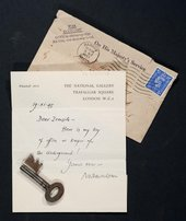 The door key to the Piccadilly Underground store, enclosed in a letter to Tate