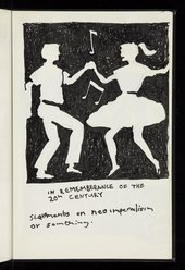 A negative space black pen ink sketch of a man and woman swing dancing with text