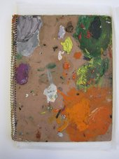 Graham Sutherland sketchbook cover with paint marks