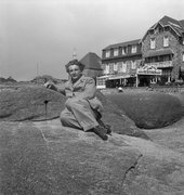 Eileen Agar Photograph of Joseph Bard in front of Hotel de Guirec in Perros-Guirec, France