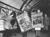 Works returning from storage in Piccadilly Underground station in 1946