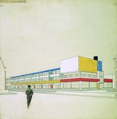 Theo van Doesburg and Cornelis van Eesteren Perspective with final colour design, Shopping arcade with bar-restaurant, Laan van Meerdervoort, The Hague 1924
