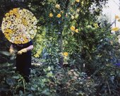 Fairbrother's mother is shown as a distant figure working in her garden, her face lost under clouds of small yellow and orange flowers, embroidered onto the original source photographs