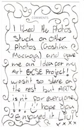 Comment card, Turner Prize exhibition, 2008