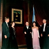 Robert Knadsen President Kennedy, Mme Malraux, French Minister of Culture André Malraux, Jackie Kennedy and Vice President Johnson at the unveiling of the Mona Lisa, National Gallery of Art, Washingto