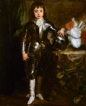 Anthony Van Dyck Charles II as Prince of Wales in Armour 1637 portrait of small boy wearing armour with his hand resting on his helmet which is positioned on a table