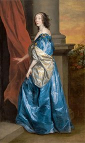 Anthony Van Dyck Lucy Percy Countess of Carlisle 1637 portrait of a lady in a luxurious blue dress with her foot on one step pulling a red curtain to the side with one hand