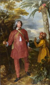 Anthony Van Dyck William Fielding 1st Earl of Denbigh c.1635 to 1636 portrait of a man walking through tropical jungle as an explorer