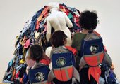 Kids with rocket backpacks at Tate Liverpool