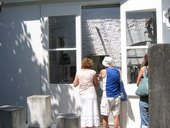 Visitors viewing Barbara Hepworth's studio at the Barbara Hepworth Museum and Sculpture Garden