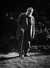 Walter Sickert in his garden at Bathampton, Somerset, c1938-42