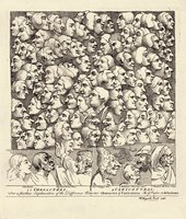 William Hogarth Characters and Caricatures April 1743 drawing of many different heads in profile filling the page