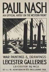 Black and white poster for Void of War exhibition 1918 showing an image of a graphic style illustration of a worn torn landscape