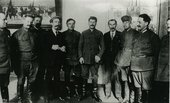 Fig.1 Stalin stands with a group of delegates at the Fourteenth Party Conference in April 1925.