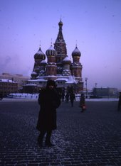 David King on Red Square with St Basil's Cathedral in the background 1970s David King Collection (TGA 20172/1/3/1/11)