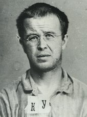 Fig.7 OGPU (secret polic) arrest photograph of Konstantin Kurochkin, born 1898, head of laboratory at a meat canning factory.