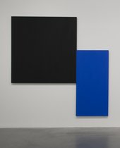 Installation view of Ellsworth Kelly, Black Square with Blue 1970