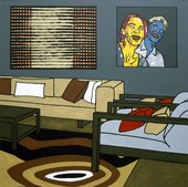 A pop art style block painted motif of a living room with abstract and figurative paintings on the back wall