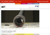 Screenshot of the Intermedia Art microsite, with Tate and BT logos, Intermedia Art title, photograph of a partially dismantled microphone