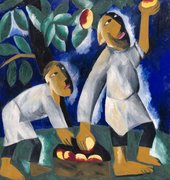 two people picking apples from trees