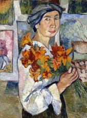self portrait of woman with flowers