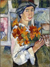 Painting by Natalia Goncharova of a women holding a bunch of flowers
