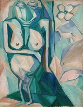 abstracted painting of a female figure