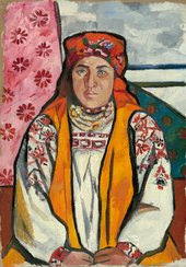 painted portrait of a woman in traditional russian dress