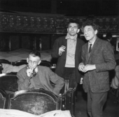 Black and white photograph of Samuel Beckett, Jean-Marie Serreau and Alberto Giacometti assisting at a rehearsal of Waiting for Godot, Théâtre de l'Odéon, Paris 1961