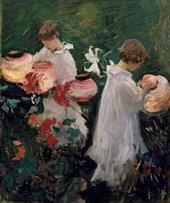 John Singer Sargent, Study for 'Carnation, Lily, Lily, Rose', 1885, oil paint on canvas, 59.7 × 49.5 cm