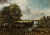 Painting of barges on a stretch of river leading away towards a lock under a cloudy sky. The near bank is covered in shrub while three trees appear on the opposite bank.