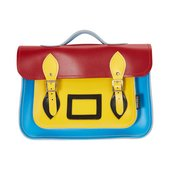 Photo of red, yellow and blue satchel bag